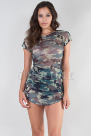 ROUND NECK SHORT SLEEVE FITTED SHEER MINI DRESS
