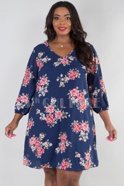 PLUS SIZE V-NECK CUT OUT PUFF SLEEVE FLORAL DRESS