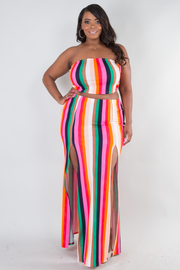 Plus size Rainbow stripe tube top and front slit skirt set
