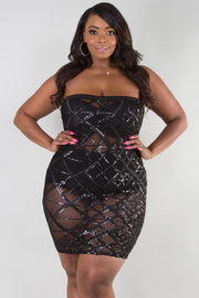 PLUS SIZE Patterned sequins see-through fitted tube dress