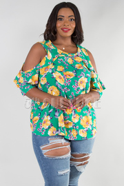 PLUS SIZE ROUND NECK COLD RUFFLE SHOULDER FLORAL TOP