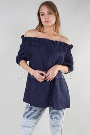 RUFFLED OFF SHOULDER SHORT PUFF SLEEVE SOLID TOP
