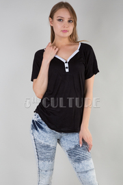 V-NECK SHORT SLEEVE TOP WITHE STRIPE POINT