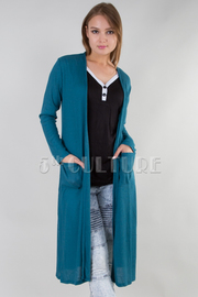 LONG SLEEVE ELEGANT SOLID CARDIGAN WITH POCKETS
