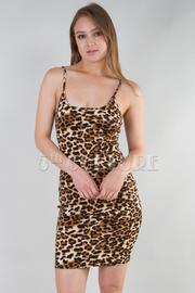 STRAP SHOULDER ANIMAL PRINTED FIT MINI DRESS