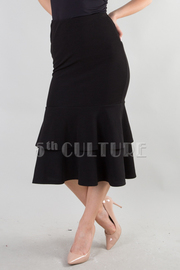 TWO LAYER KNEE LENGTH RUFFLED SKIRT