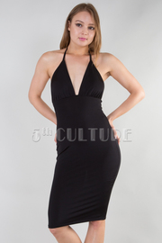 SOLID FITTED SHINY STRAP HALTER DRESS