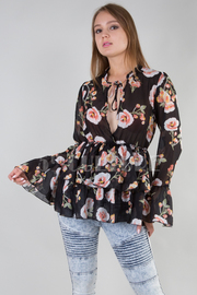 STRAP TIE NECK OVERLAP FRONT BELTED RUFFLED FLORAL TOP