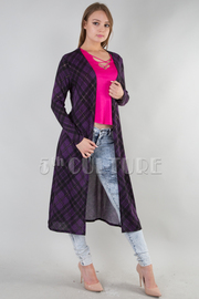 LONG SLEEVE KNEE LENGTH PLAID CARDIGAN