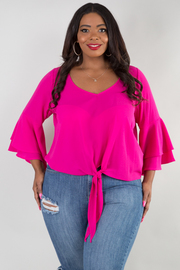 PLUS SIZE V-NECK TWO LAYER RUFFLE SLEEVE TOP