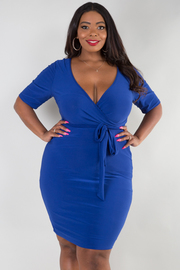 PLUS SIZE SHORT SLEEVE BELTED MINI FIT DRESS