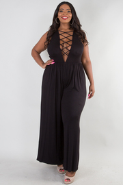 PLUS SIZE OPEN ARM DEEP V WITH CROSSED SPAGHETTI JUMPSUIT