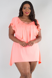 PLUS SIZE RUFFLED FLOUNCE COMFORTABLE TOP