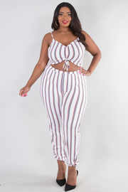 PLUS SIZE  STRAP SHOULDER BIKINI TOP STRIPE JUMPSUIT
