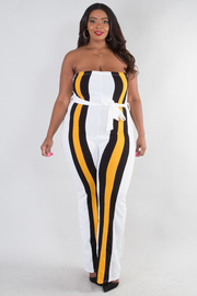 PLUS SIZE BOW TIE BELT STRIPE TUBE JUMPSUIT