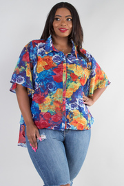 PLUS SIZE BUTTON UP SHORT RUFFLE SLEEVE FLORAL TOP