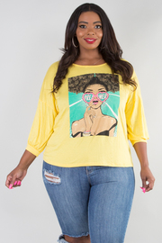PLUS SIZE BOAT NECK 3/4 SLEEVE PRINTED TOP