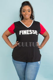 PLUS SIZE V-NECK SHORT SLEEVE FINESSE TOP