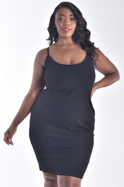 PLUS SIZE STRAP SHOULDER CRISS CROSS BACK DRESS
