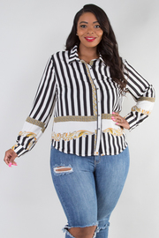 PLUS SIZE LONG SLEEVE BUTTON UP STRIPE COLLAR TOP
