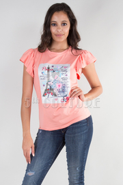 RUFFLED SHORT SLEEVE EIFFEL PRINTED TOP WITH TRIM