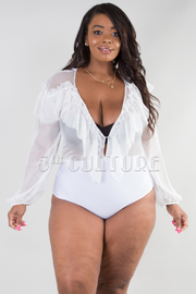 PLUS SIZE RUFFLED FLOUNCE SEE-THROUGH BODYSUIT