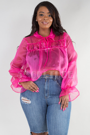 PLUS SIZE LONG SLEEVE SEE THROUGH COLLAR TOP