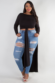 PLUS SIZE Round neck long sleeve side slit top