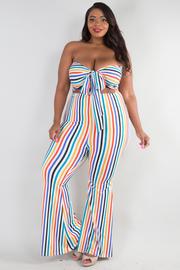 PLUS SIZE Multi stripe front tied jumpsuit