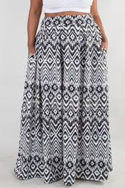 PLUS SIZE GEOMETRIC PATTERN PRINTED POCKET SKIRT
