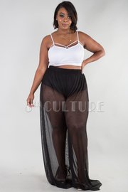 PLUS SIZE SEE THROUGH WIDE LEG PANTS