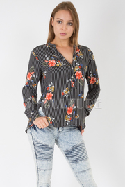 LONG SLEEVE BUTTON UP FLORAL STRIPE PRINT TOP