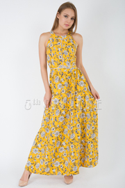 OPEN BACK WITH BOW TIE FLARE MAXI DRESS
