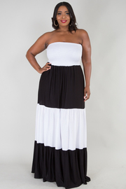 PLUS SIZE Color block tube dress