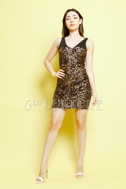 Leopard Print Front Zip Up Dress