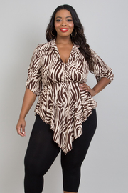 PLUS SIZE 3/4 Sleeve Printed Jacket Top