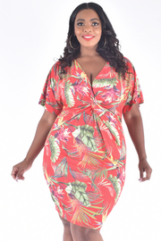 PLUS SIZE TWISTED FRONT FLORAL FITTED DRESS