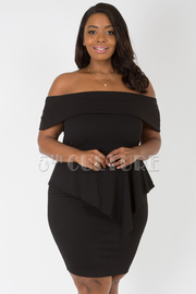 PLUS SIZE OFF SHOULDER FLOUNCED PEPLUM DRESS