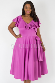 PLUS SIZE SHORT SLEEVE FLOUNCE TOP WITH WAIST BOW SOLID DRESS