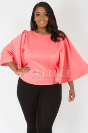 PLUS SIZE BOAT NECK WIDE SLEEVE SOLID CROP TOP