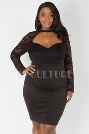 PLUS SIZE MOCK NECK WITH CUT-OUT MESH SOLID DRESS