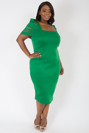 PLUS SIZE SQUARE NECK PUFFED CUT OUT SHORT SLEEVE FITTED DRESS