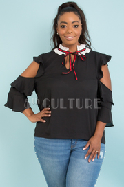 PLUS SIZE WITH TIE POINTED NECK CUT-OUT SLEEVE TOP