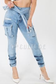 SLEEVE TIE FRONT BOTTOM POINTED DENIM WITH BIG POCKETS