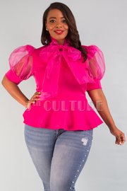 PLUS SIZE RIBBON POINT PUFFED SHORT SLEEVE TOP