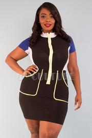 Plus size mock neck pockets detail color block dress