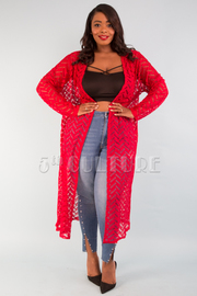 PLUS SIZE  LONG SLEEVE SEE-THROUGH LACE CARDIGAN