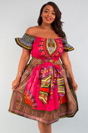 PLUS SIZE PLEATED CROP TOP AND FLARE SKIRT