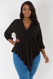 PLUS SIZE 3/4 SLEEVE SOLID JACKET TOP