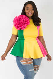 PLUS SIZE color block Peplum top with big flower